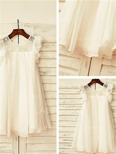 Scoop Neck A-Line/Princess Flower Girl Dresses Chiffon Lace Short Sleeves Tea-length (010211936)
