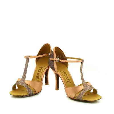 De mujer Danza latina Tacones Sandalias Salón Satén Zapatos de danza (053095779)