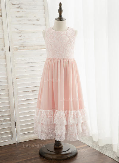 Corte A Comprimento médio Vestidos de Menina das Flores - Tecido de seda/Renda Sem magas Decote redondo (010172356)