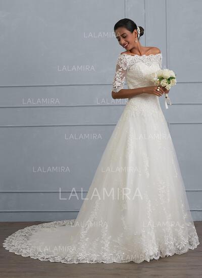 De baile Off-the-ombro Cauda de sereia Tule Renda Vestido de noiva com Beading lantejoulas (002130561)