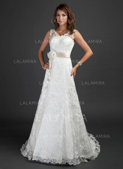 A-Line/Princess V-neck Court Train Lace Wedding Dress With Sash Beading Flower(s) (002000187)