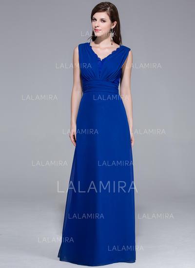 Nydelig V-hals A-formet/Prinsesse Chiffong Selskapskjoler (017201199)