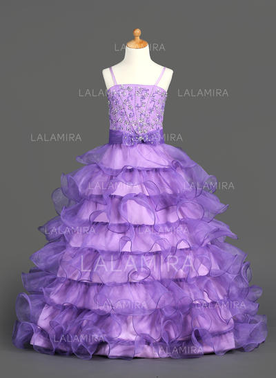 Organza/Satin Ball Gown Ruffles/Beading/Sequins Glamorous Flower Girl Dresses (010002153)