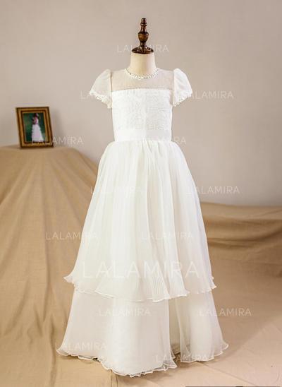 Forme Princesse Longueur ras du sol Robes à Fleurs pour Filles - Satiné/Tulle Manches courtes Col rond (010093748)