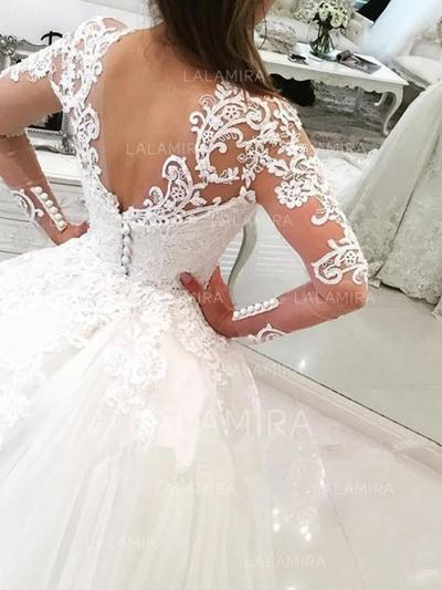 Ball-Gown V-neck Cathedral Train Wedding Dresses With Beading ...