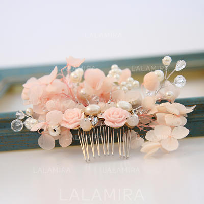 "Combs & Barrettes Wedding/Special Occasion Alloy/Imitation Pearls/Silk Flower 3.15""(Approx.8cm) 0.78""(Approx.2cm) Headpieces (042158609)"