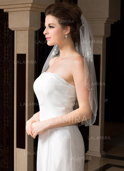 Elbow Bridal Veils Tulle One-tier Oval/Mantilla With Beaded Edge Wedding Veils (006151472)