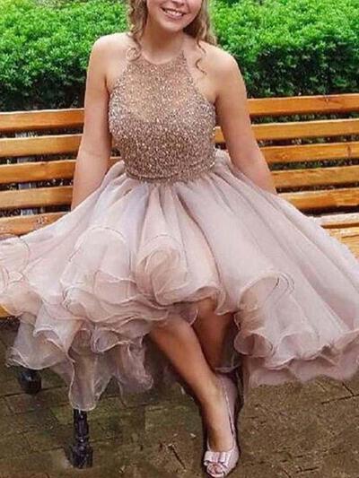 Brodé Forme Princesse Court/Mini Mousseline Robes de soirée étudiante (022216304)