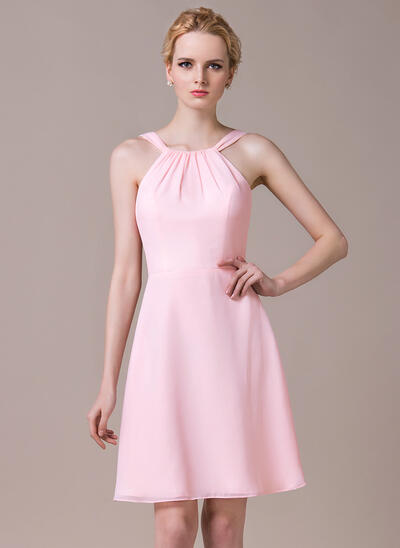A-Line Scoop Neck Knee-Length Chiffon Bridesmaid Dress With Ruffle (007059445)