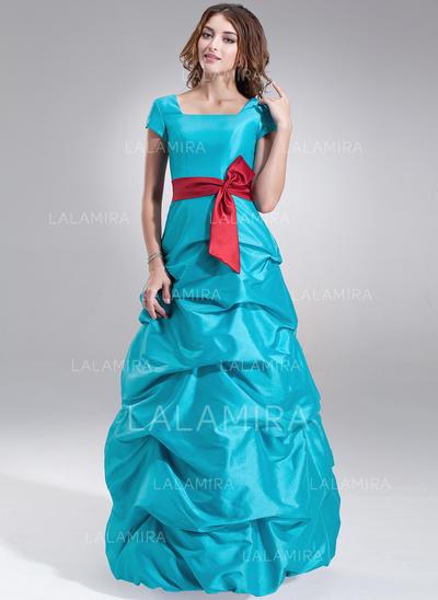 A-Line/Princess Floor-Length Taffeta Floor-Length Bridesmaid Dresses (007000958)