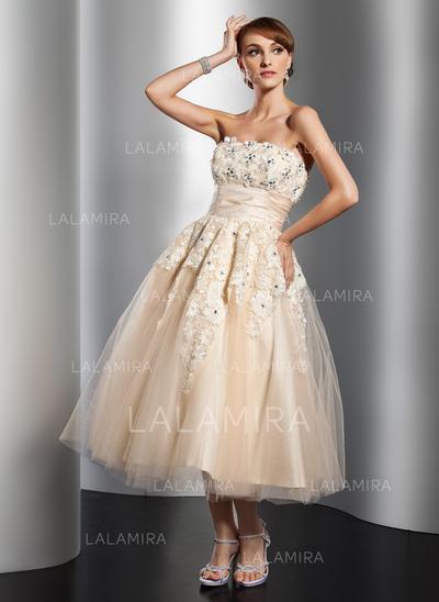 Luxurious Strapless A-Line/Princess Wedding Dresses Tea-Length Tulle Sleeveless (002211362)