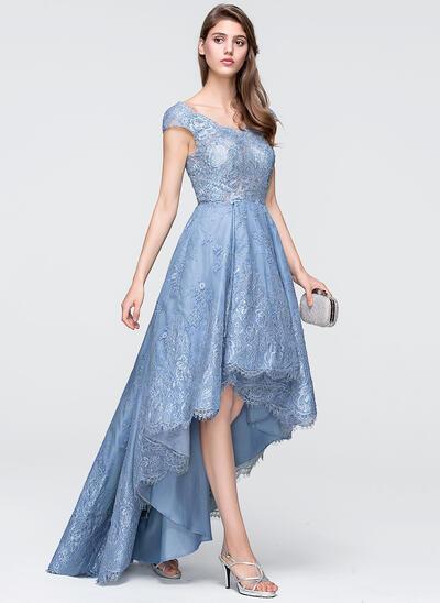 A-Line V-neck Asymmetrical Tulle Lace Evening Dress (017113544)
