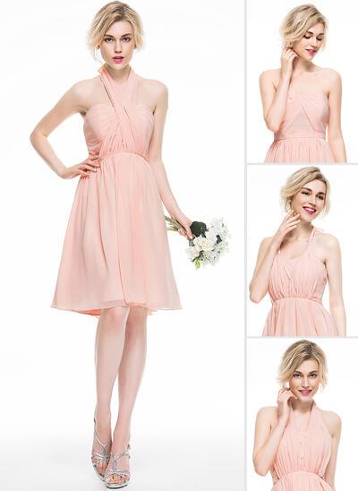 A-Line/Princess Sweetheart Knee-Length Chiffon Bridesmaid Dress With Ruffle (007076101)