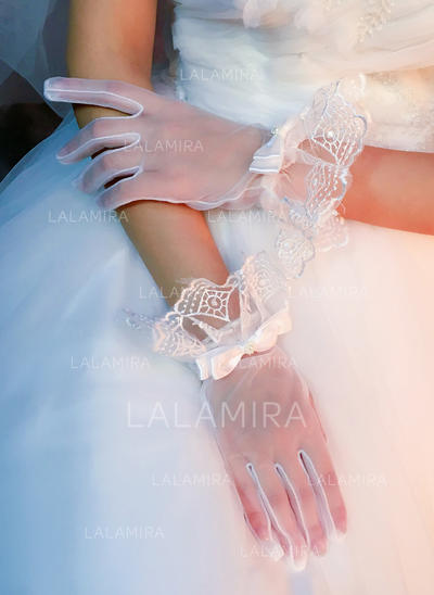 Lace Ladies' Gloves Wrist Length Bridal Gloves Fingertips Gloves (014192182)