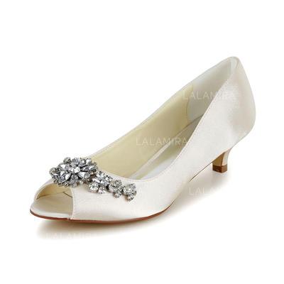 Women's Peep Toe Sandals Cone Heel Satin With Rhinestone Wedding Shoes (047204106)