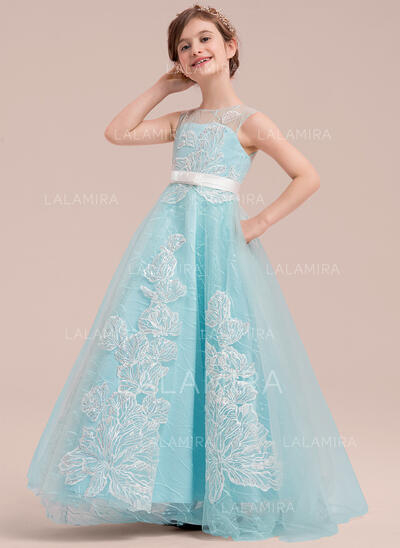 Ball Gown Sweep Train Flower Girl Dress - Satin/Tulle/Lace Sleeveless Scoop Neck With Beading/Bow(s) (010143262)
