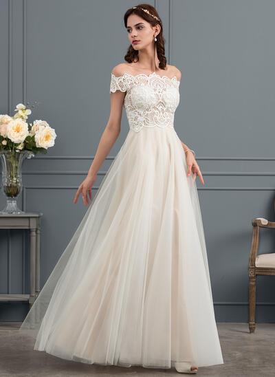 Corte A Off-the-ombro Longos Tule Vestido de noiva (002153449)