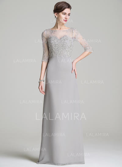 A-Line/Princess Chiffon 1/2 Sleeves Scoop Neck Floor-Length Zipper Up Mother of the Bride Dresses (008072709)