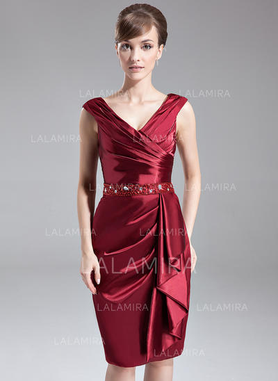 Sheath/Column Charmeuse Sexy V-neck Mother of the Bride Dresses (008211022)
