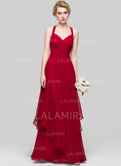 A-Line Sweetheart Floor-Length Chiffon Prom Dresses With Cascading Ruffles (018112686)