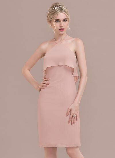 Sheath/Column Scoop Neck Knee-Length Chiffon Bridesmaid Dress With Cascading Ruffles (007130565)