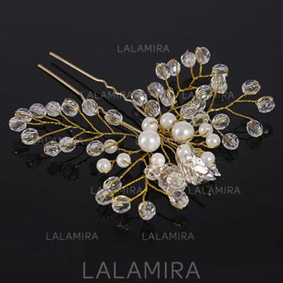 """Hairpins Wedding Crystal/Imitation Pearls 4.33""""(Approx.11cm) 3.94""""(Approx.10cm) Headpieces (042159004)"""