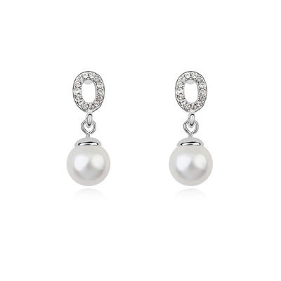 Earrings Platinum Plated Pearl Pierced Ladies' Wedding & Party Jewelry (011164514)