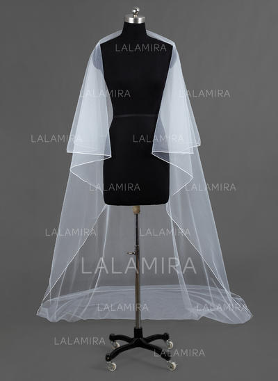 Cathedral Bridal Veils Tulle One-tier Drop Veil/Rectangular With Pencil Edge Wedding Veils (006151754)