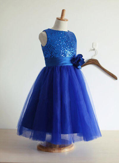 Scoop Neck A-Line/Princess Flower Girl Dresses Tulle/Sequined Flower(s) Sleeveless Tea-length (010211774)