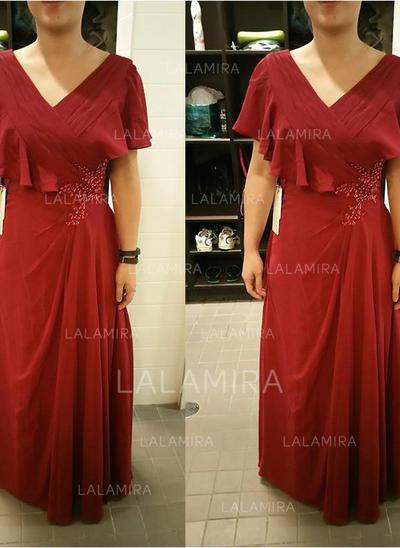 A-Linie Princess-Linie V-Ausschnitt Bodenlang Kleider für die Brautmutter  mit d67fc063a7