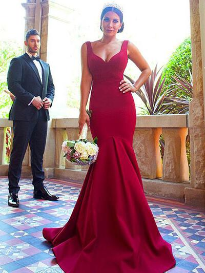 Trumpet/Mermaid V-neck - Satin Bridesmaid Dresses (007217809)