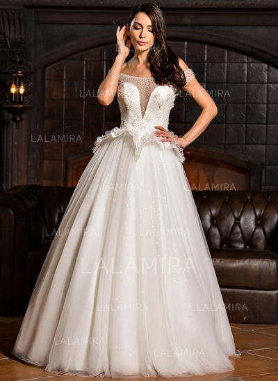 Stunning Tulle Wedding Dresses With Ball-Gown Off-The-Shoulder (002210633)