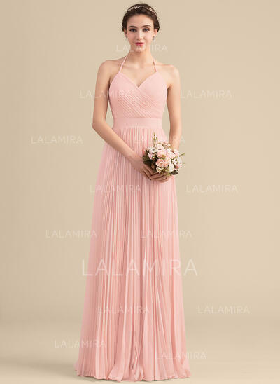 Vestidos princesa/ Formato A Amada Longos Tecido de seda Vestido de madrinha com Plissada (007153323)