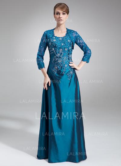 A-Line/Princess Taffeta Sleeveless Scoop Neck Floor-Length Zipper Up Mother of the Bride Dresses (008005995)