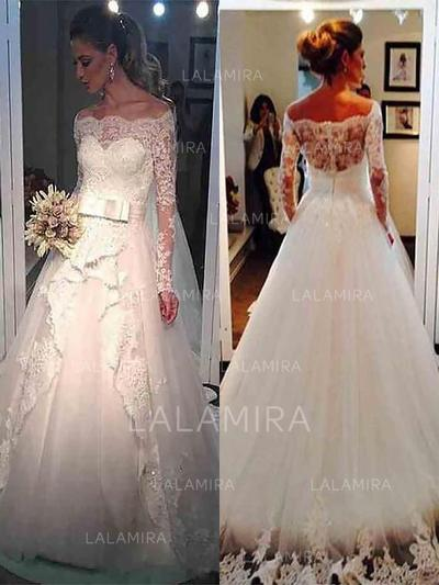 Newest Lace Sash Beading Ball-Gown With Tulle Wedding Dresses (002147974)