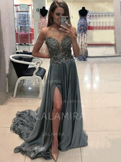 A-Line/Princess Scoop Neck Sweep Train Chiffon Evening Dresses With Beading Appliques Lace Split Front (017217886)