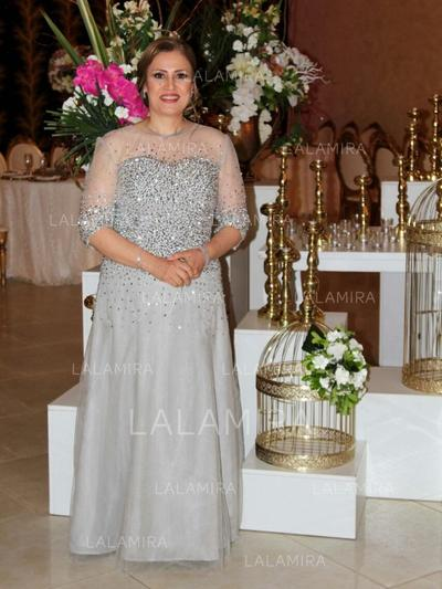 A-Line/Princess Scoop Neck Chiffon Tulle Magnificent Mother of the Bride Dresses (008212794)