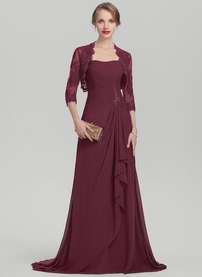 Forme Princesse Amoureux Balayage/Pinceau train Mousseline Robe de mère de la mariée avec Brodé Robe à volants (008114253)