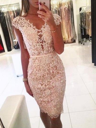 Sheath/Column Knee-Length Lace V-neck Homecoming Dresses (022219305)