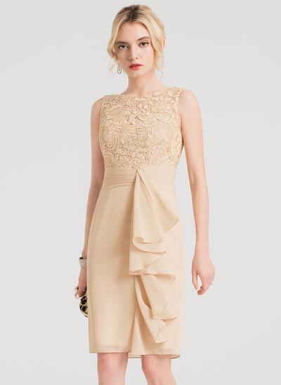 Sheath/Column Scoop Neck Knee-Length Chiffon Cocktail Dress With Cascading Ruffles (016150194)
