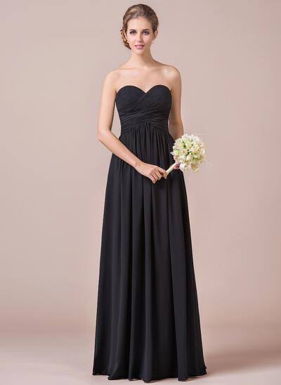 A-Line/Princess Sweetheart Floor-Length Chiffon Bridesmaid Dress With Ruffle (007056565)