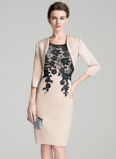 Sheath/Column Scoop Neck Knee-Length Satin Lace Mother of the Bride Dress With Lace (008072688)