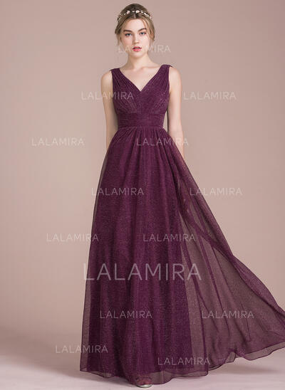 A-Line V-neck Floor-Length Tulle Bridesmaid Dress With Ruffle (007104712)