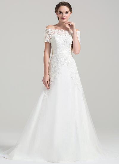 Forme Princesse Hors-la-épaule Traîne moyenne Tulle Robe de mariée (002084743)