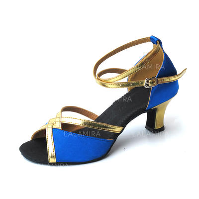 Women's Latin Heels Sandals Satin Leatherette With Ankle Strap Dance Shoes (053180094)