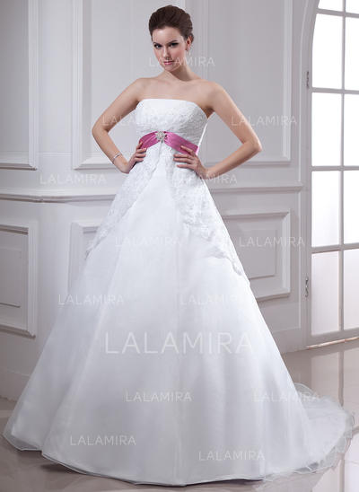 Empire Strapless Chapel Train Wedding Dresses With Lace Sash Crystal Brooch (002000129)