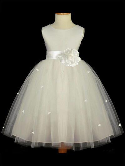 Scoop Neck A-Line/Princess Flower Girl Dresses Satin/Tulle Sash/Flower(s) Sleeveless Tea-length (010211812)