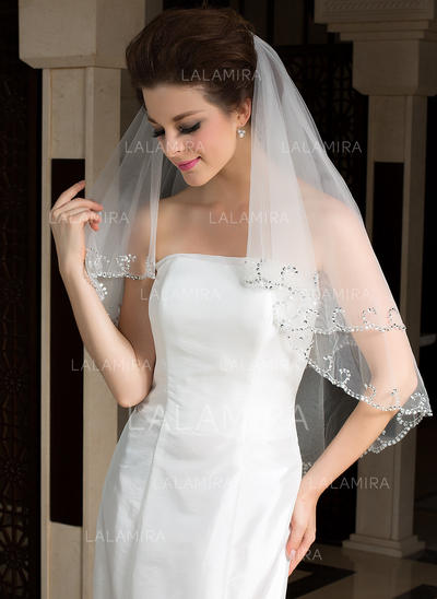 Elbow Bridal Veils Tulle Two-tier Classic/Oval With Sequin Trim Edge Wedding Veils (006151470)