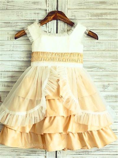 Escote Cuadrado Corte A/Princesa Vestidos para niña de arras Tafetán/Tul Volantes Sin mangas Hasta la rodilla (010211929)