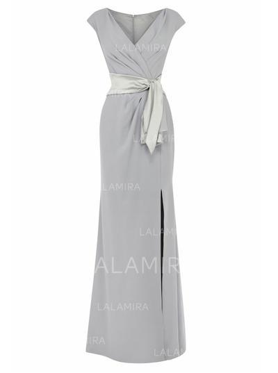 Empire Chiffon Short Sleeves V-neck Floor-Length Zipper Up Mother of the Bride Dresses (008146317)